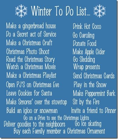 Winter to do list. Christmas time