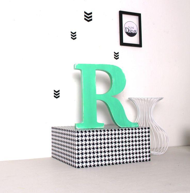 lettre en bois R à poser vert menthe, mariage, décoration - mylittledecor : Accessoires de maison par mylittledecor