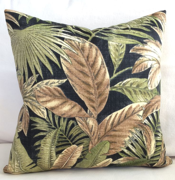 Tommy Bahama Tropical Palm Indoor Outdoor Throw Pillow Cushion Cover Coastal Black Brown Green Lanai Patio Decor Beach House Boat Designer by MarolizanaDesigns on Etsy