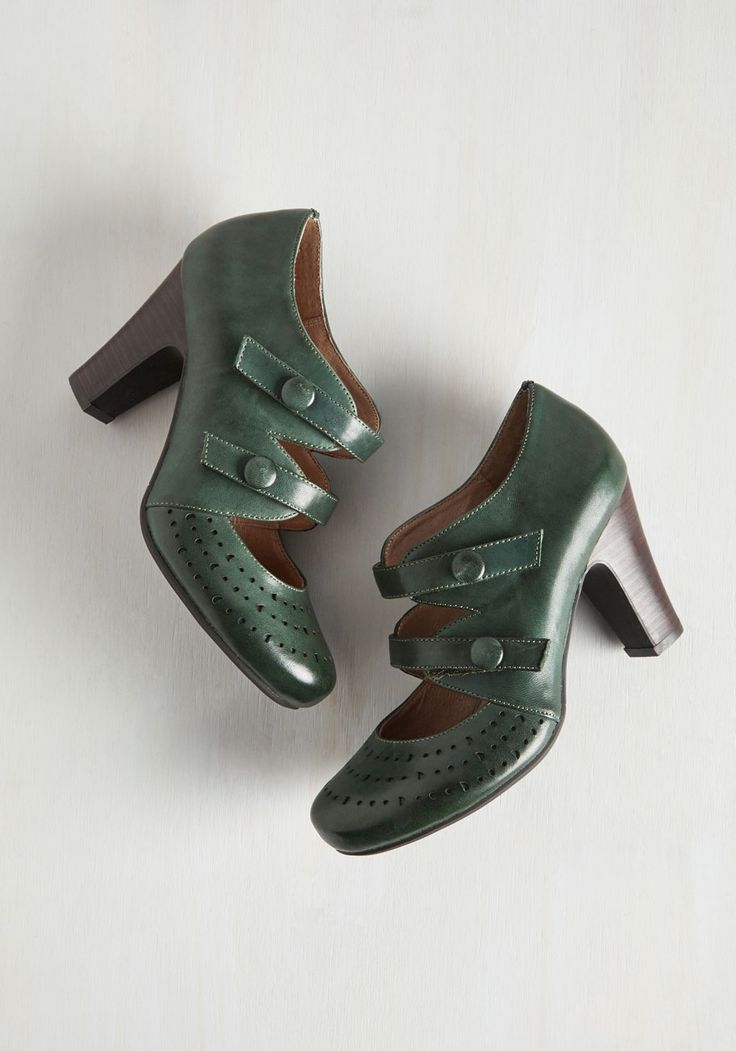 Take a Phase Out of Your Book Heel. Your fashion blog following will find endless inspiration in these deep green heels by Miz Mooz! #green #modcloth