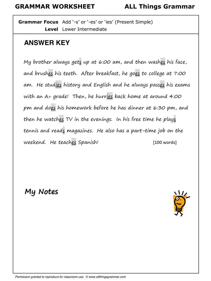 Printable Worksheets third person singular worksheets : 58 best present tense simple images on Pinterest | English grammar ...