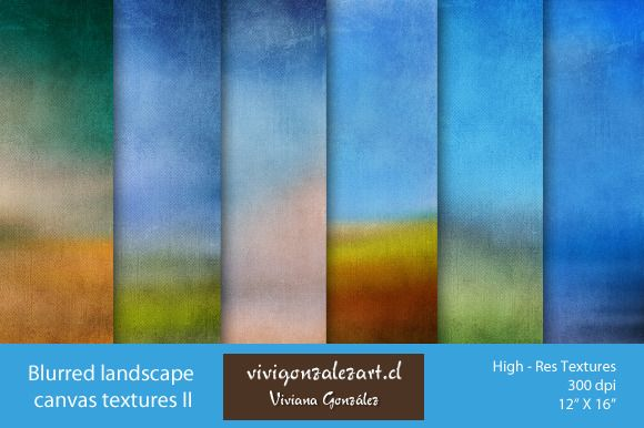 Blurred landscape canvas textures II by ViviGonzalezArt on Creative Market