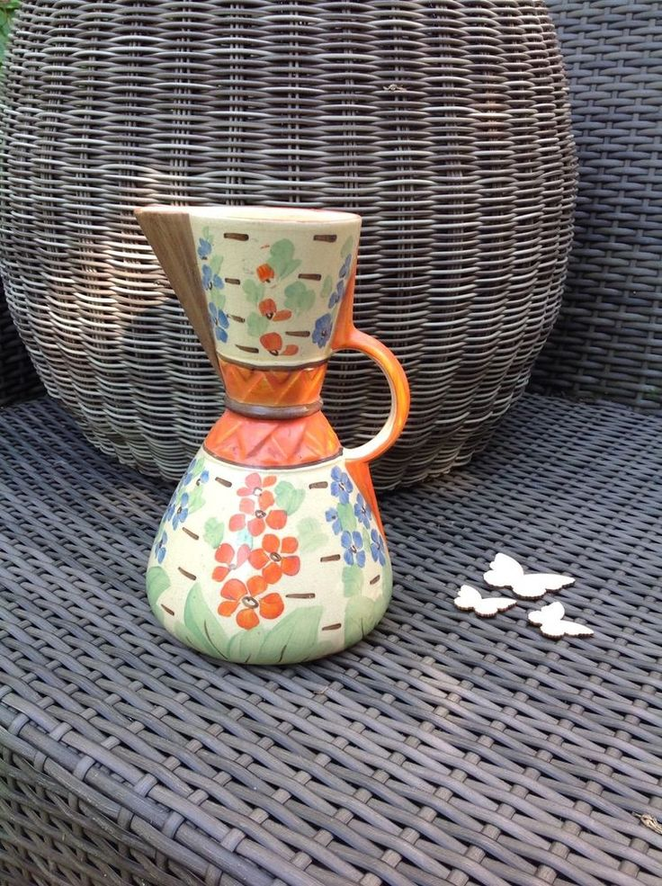 Antique Vintage Hand Painted Wade Heath Art Deco Jug 9 Impression Marked 90 Wade Heath
