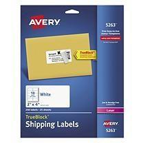 Avery TrueBlock Shipping Labels, Laser, 2 x 4, White, 2