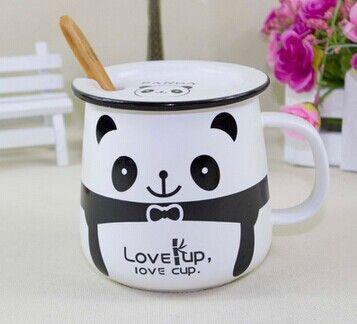 Encontrar Más Tazas/Mugs/Tarros Información acerca de Mono de la Panda Lidded dibujos animados negro y blanco taza de café de cerámica jarra con tapa cuchara de café, alta calidad taza de pintura, China taza de viaje Proveedores, barato 1 taza de Pull Wind's Store en Aliexpress.com