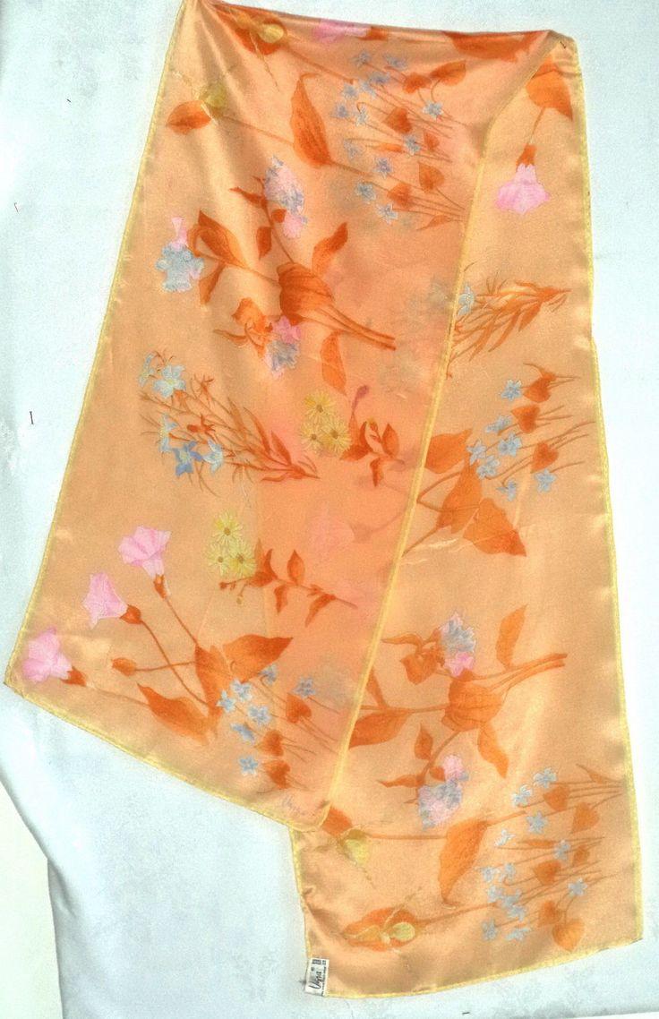 Vintage 70s Vera Neumann SILK long Pastel Peach Aqua Floral Flowers scarf sash