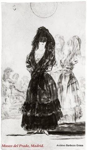 Duquesa de Alba de pie del Álbum de Sanlúcar por Francisco de Goya.