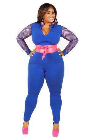 Blue Fishnet Catsuit
