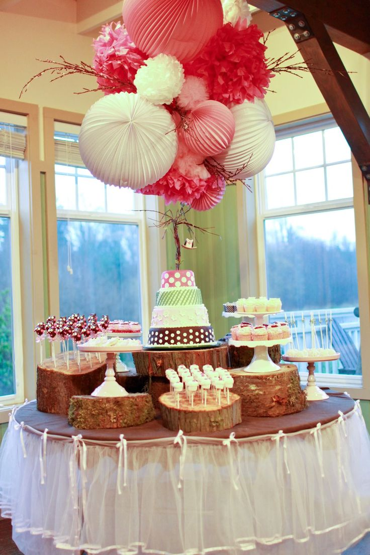 love this set up: Party'S, Paper Lanterns, Birthday Parties, Pompom, Parties Ideas, Pom Pom, Trees Stumps, Desserts Tables, Owl Parties