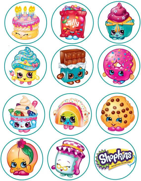 Shopkins comestibles imagen Cupcake Toppers
