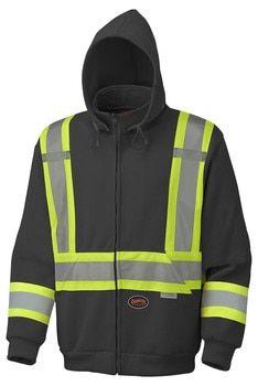 Black 6925BK Hi-Viz Polyester Fleece Hoodie | Safetywear.ca