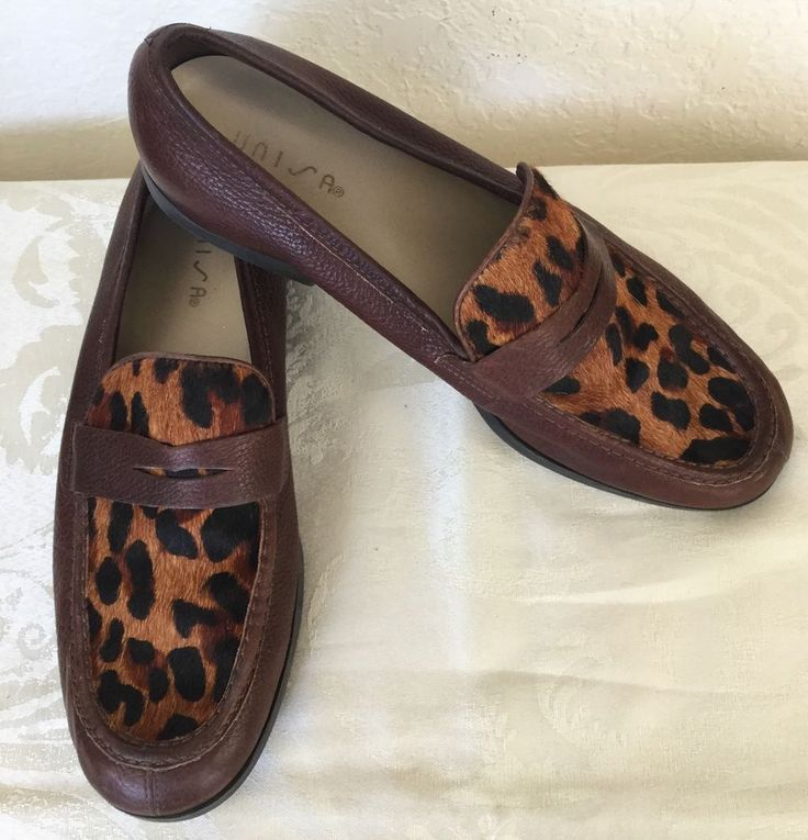 Unisa Leather and Calf Hair Loafers Shoes 9.5B Brown Tan Animal Print  Brazil #Unisa