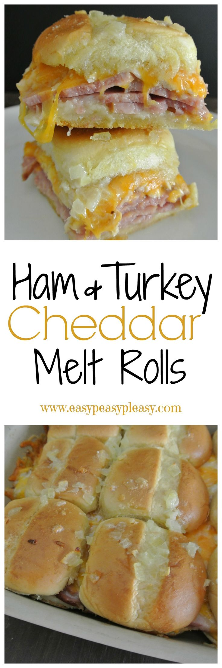 Ham and Turkey Cheddar Melt Rolls are an easy delicious way to use up those holiday leftovers.