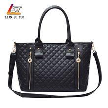 Sacos alça de femme duplo zíper do saco do saco acolchoado de interior slot bolso bolsas(China (Mainland))