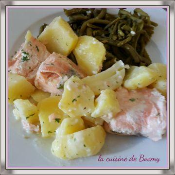 Saumon et pommes et terre à la crème