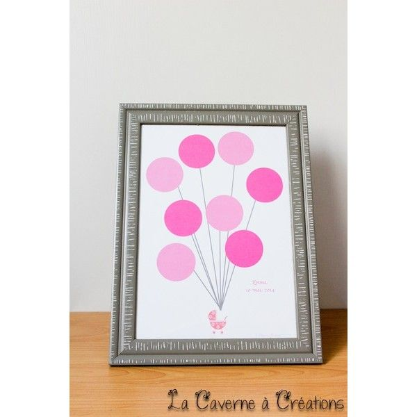 Tableau poussette rose empreinte baby shower