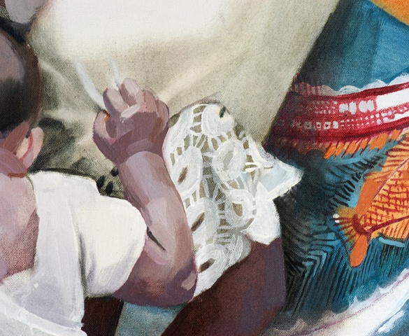 Congo Series, Larissa Doll, Detail: Mama et Enfant, Oil on Canvas, 70cm x 100cm, 2006