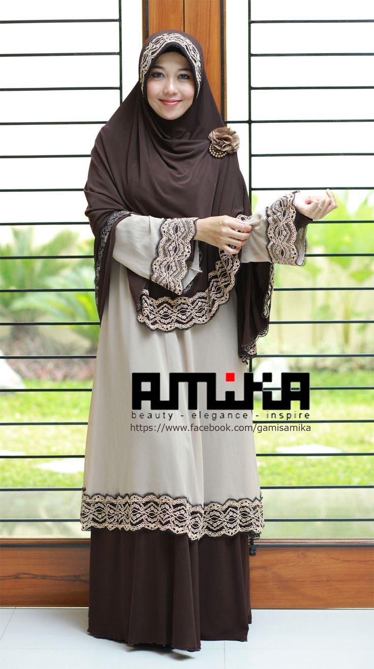 Gamis Alia Gown dari gamisamika.com Perpaduan jersey import dan siffon crepe yang anggun dengan bordir menawan.. Harga Gamis Saja : IDR 385.000,- Harga Satu Set Gamis + Jilbab = IDR 480.000,-