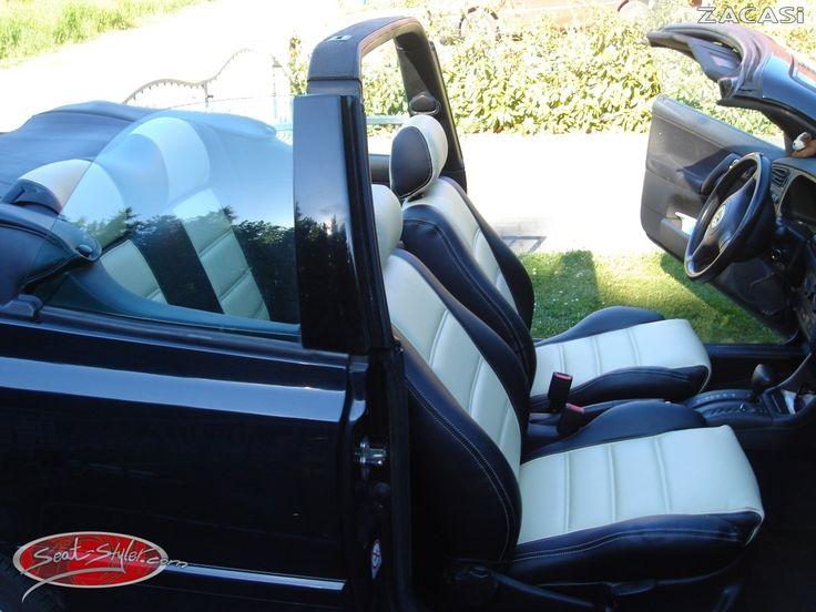 Sommer Sonne Cabriozeit !!! Verschönert eure Cabrio mit Sitzbezügen auf seat-styler.de Hier seht ihr ein VW Golf 3 Cabrio mit den Sitzbezügen von ZACASi in dem Design #Dubai  #VW #Golf3 #Cabrio #seatcover #sitzbezüge #dubai #konfigurator #black #white
