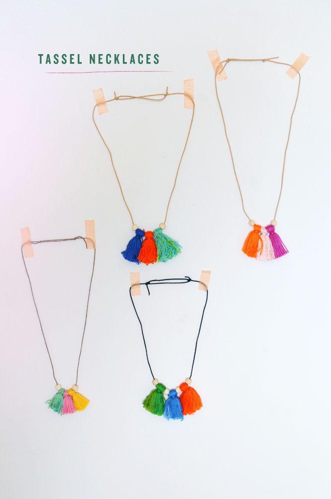 Tassel necklaces tutorial at http://mycakies.com/2014/07/camp-home-tassel-necklaces/