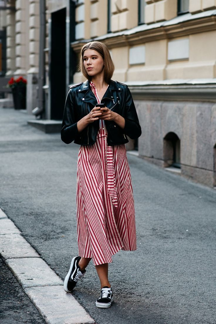 409c862517 Leather jacket and striped dress - The Best Of Helsinki Street Style