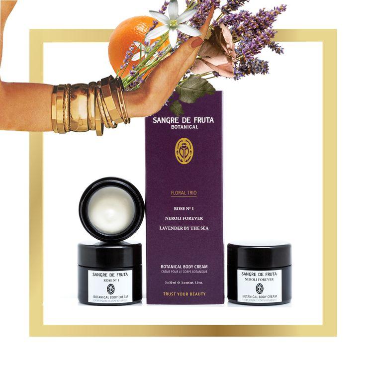 Our Signature Botanical Body Cream FLORAL TRIO - Rose No.1, Neroli Forever, Lavender by the Sea. www.sangredefruta.com