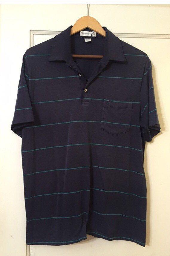 Munsingwear Vintage men's navy blue striped original penguin t shirt by MeriweatherVintage