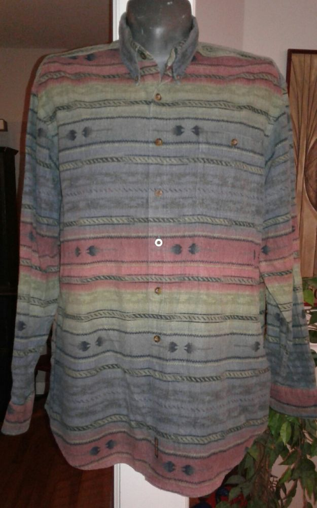 Woolrich Flannel Southwestern Navajo Aztec Long Sleeve Blanket Men s Shirt 2XL | eBay