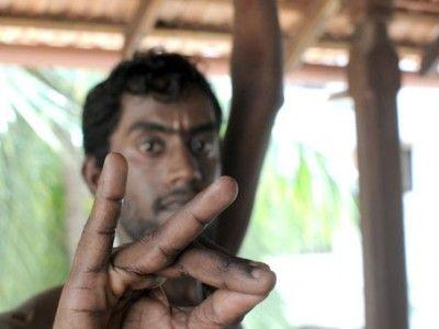 Bharata Natyam Dancer Performing a Mudra, Symbolic Hand Gesture, Chennai, Tamil Nadu India