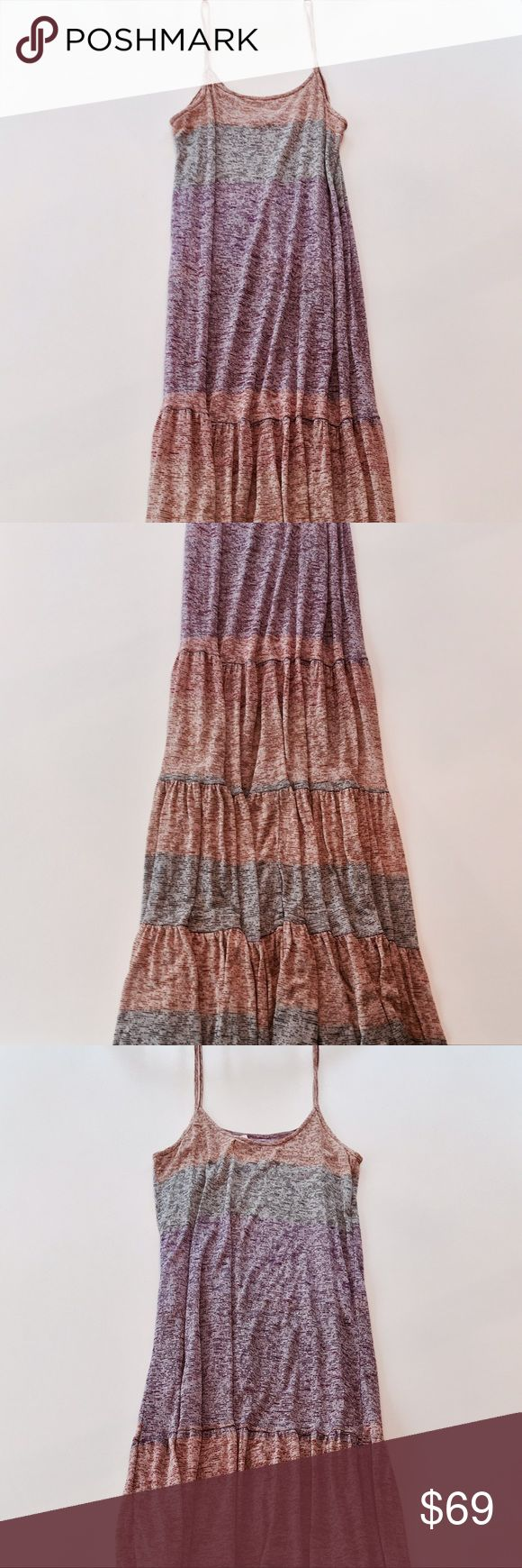 "Free People FP Beach Lotus Maxi Dress Style: Semi-sheer marled fabric, striped pattern, tiered ruffled hem, spaghetti straps. Measurements: ≈59"" length; ≈8"" strap to strap. Fabric: 60% Rayon, 40% Polyester.  Condition: Pre-owned with slight wear; otherwise great condition. Care: Machine wash cold. Free People Dresses Maxi"