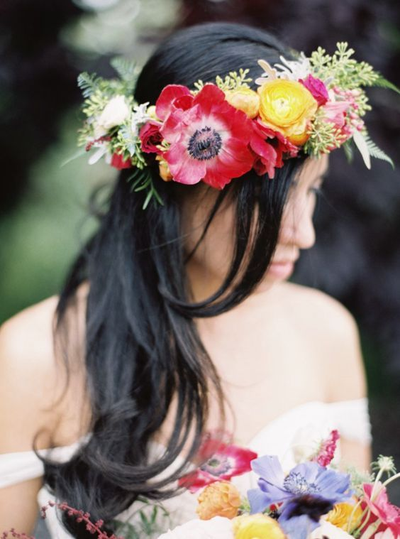 Boho chic wedding hairstyle with unique red, yellow and pink flower crown; Featured Photographer: Rebecca Hollis Photography
