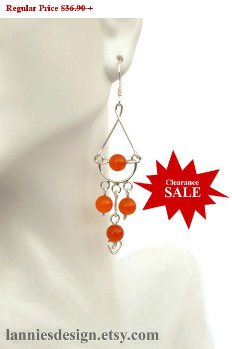 Sterling Silver Orange Chandelier Earrings with Gemstone Beads, One of a Kind Jewelry, Career, Gift for Mom, Girl Friend
