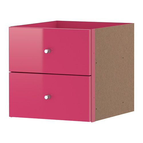 Expedit insert with 2 drawers high gloss pink ikea for Fabric drawers ikea expedit