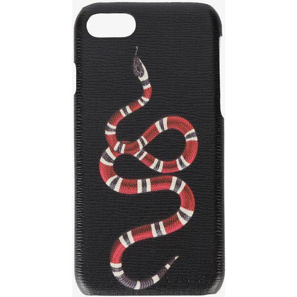 Gucci Snake Iphone 7 Case (1.090 BRL) ❤ liked on Polyvore featuring men's fashion, men's accessories, men's tech accessories, black and mens leather accessories
