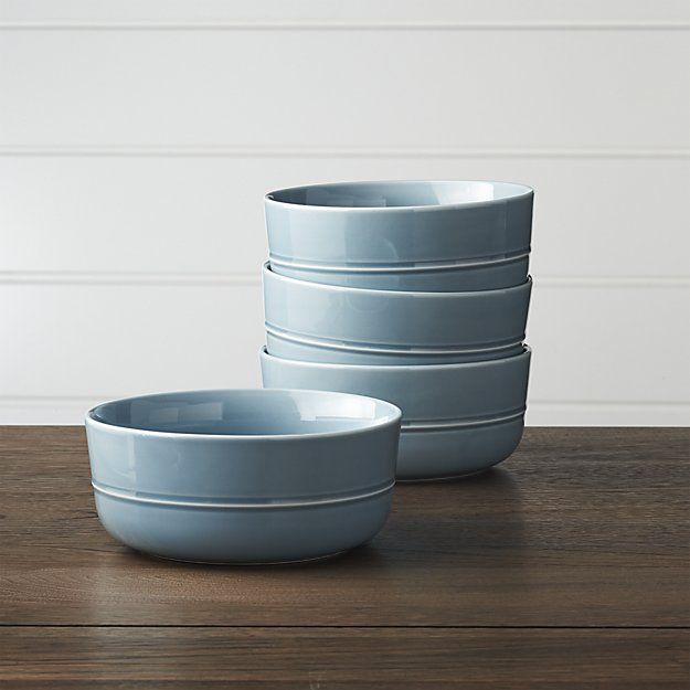 Set of 4 Hue Blue Bowls | Crate and Barrel
