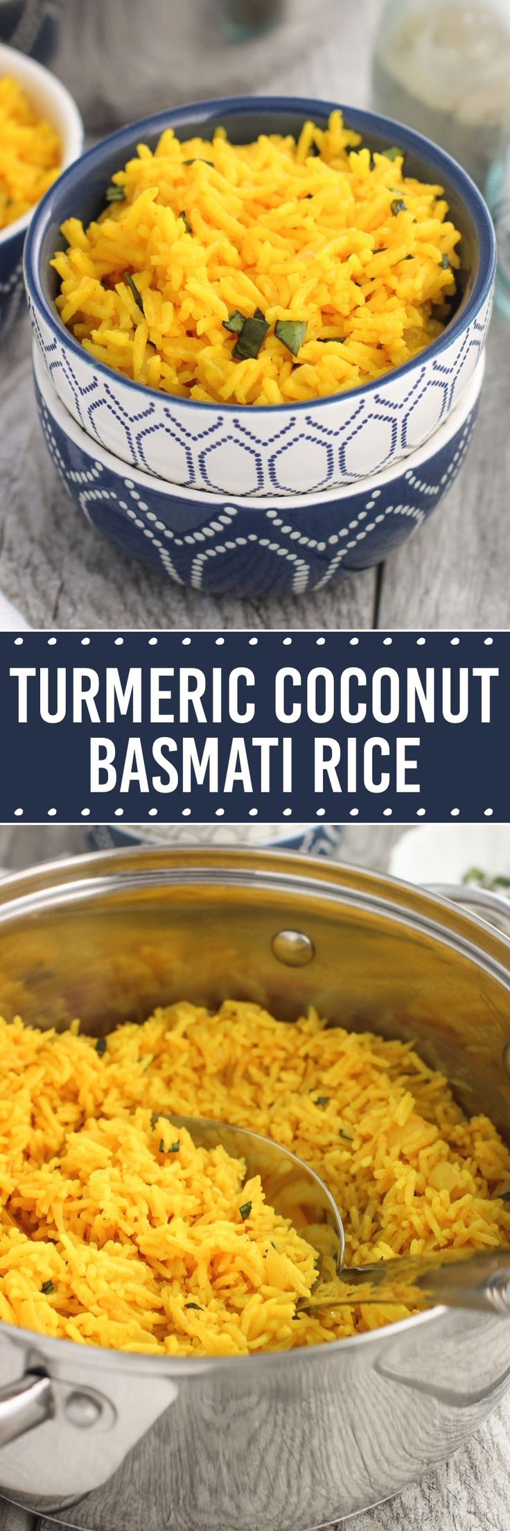 Turmeric Coconut Basmati Rice - a flavorful side dish made with onion, ginger, garlic, and basil - all cooked in a coconut milk mixture.