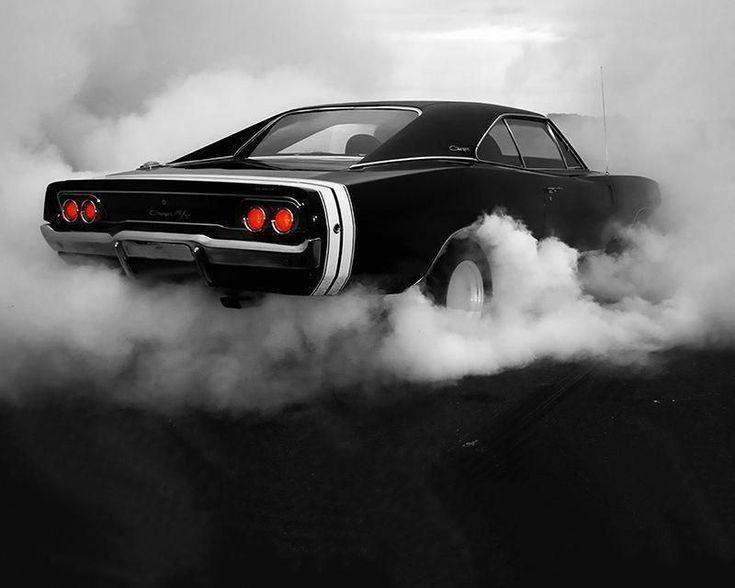 1969 Dodge Charger Burnout Black White Car Poster Canvas Print Art Decor Wall