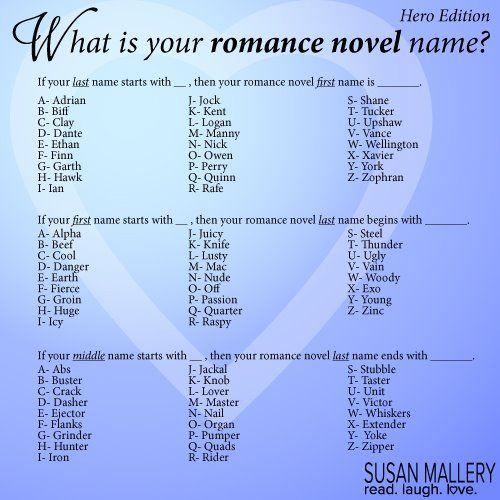 Romance Novel Name Funny Name Generator Funny Names Names