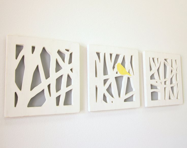 Yellow Bird Wall Art Set, Triptych Wall Art Set, Yellow and Gray Wall Art. $145.00, via Etsy.