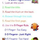 Free!   How to Choose a Just Right Book Poster    - This poster serves as a visual reminder of the 5 finger rule of choosing a just right book.     - Se...