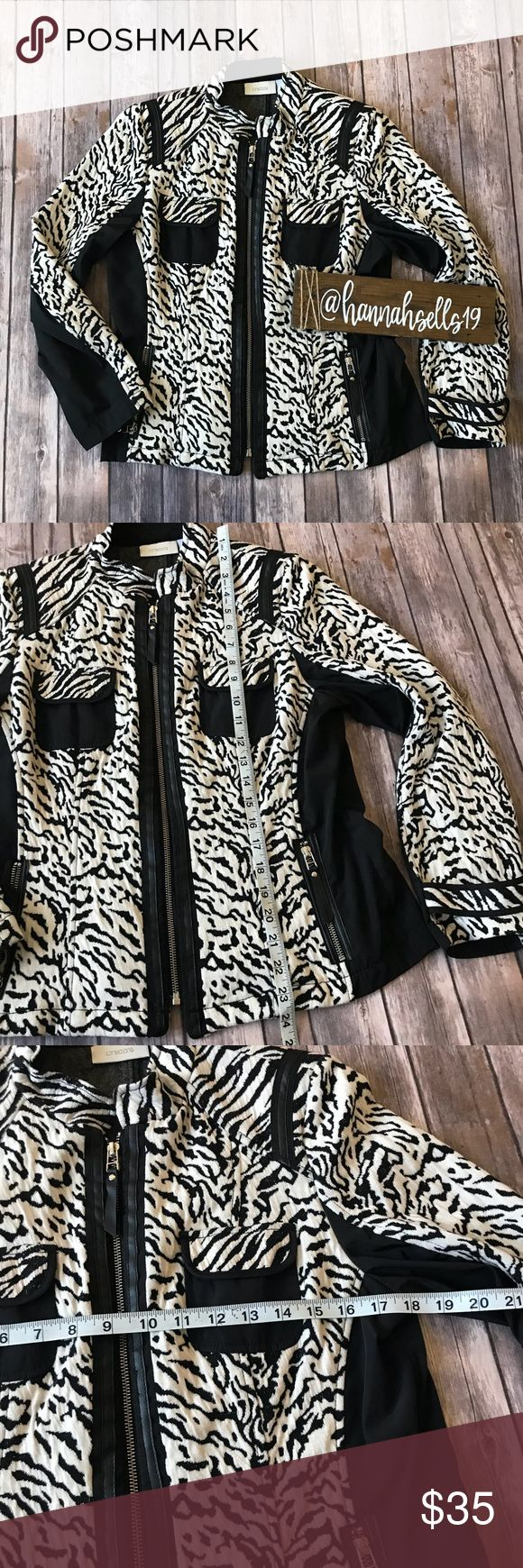 Chico's Animal Print Jacket Like new lightweight zip up jacket with black and white animal print. Perfect for Fall and Spring and can be worn for the office! This is a Chico's size 1 and concerts to a standard women's size 8 💠From a clean and smoke free home!💠 Add to a bundle to get a private discount💠Free Gift with $25+ Purchase 💠 Discount ALWAYS Available on 2+ items💠 No trades, holds, modeling or transactions off of Poshmark.💠 Chico's Jackets & Coats