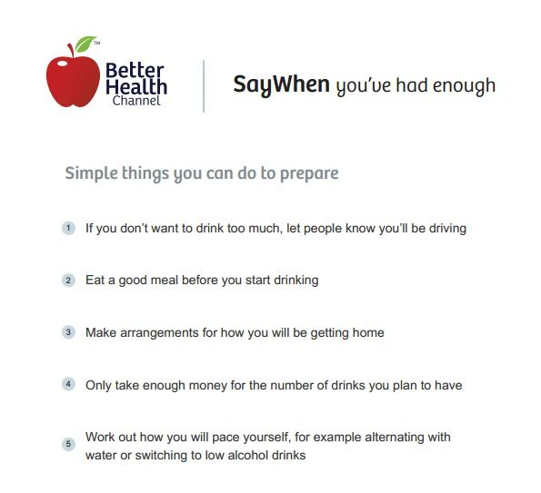 Simple things you can do to prepare - alternatives to drinking - Better Health Channel