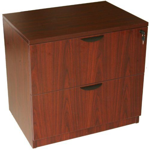 Boss Office Products Two Drawer Lateral File by Boss Office Products. $394.99. Surfaces laminated with thermal fused melamine Choice of Mahogany or Cherry finish Edges are banded with matching 3mm PVC Accommodates letter and legal filing Leveling glides Entire Casegood Series from Boss