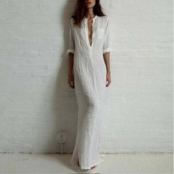 2016 Summer Autumn Shirt Dresses Linen Cotton Dress