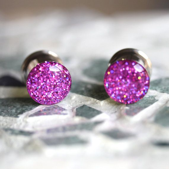 www.silverpeakplugs.etsy.com Pink Holographic Ear Plugs Sparkly Pink Gauges by Silver Peak Plugs