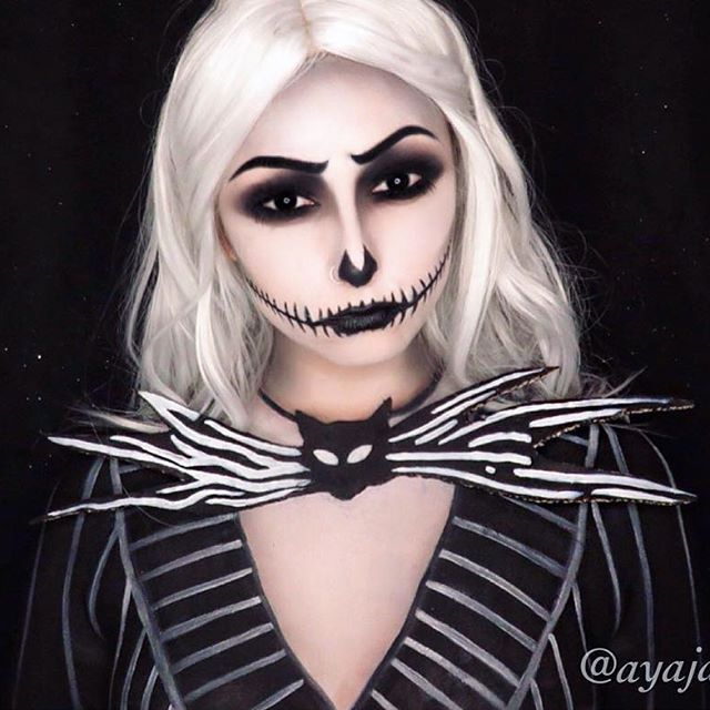 THIS IS HALLOWEEN THIS IS HALLOWEEENNNN  Gender bent Jack Skellington! What's Halloween without Jack  I was tossing up for so long on how to do this makeup but decided to do a more wearable look for Halloween that doesn't involved having your eyes shut or uncomfortable scleras  though, when I started painting the suit I was like what have I got myself into  Random piece of info; Halloween town is one of my favourite worlds in Kingdom Hearts, the costumes are just so cute  ...