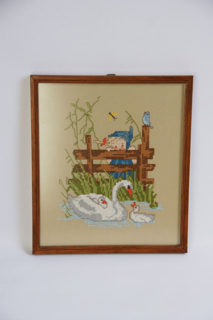 Vintage Hummel needlepoint with swans in wooden frame, nursery decor, vintage framed embroidery, beige background by JoorVintageTreasures on Etsy