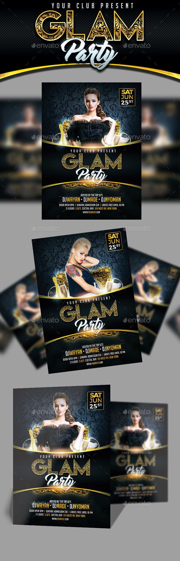 PSD Glam Party Flyer  Template • Only available here ➝ http://graphicriver.net/item/glam-party-flyer/16478051?ref=pxcr