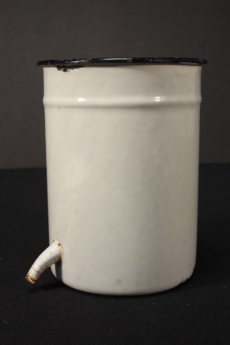 Enamel Douche Or Enema Container Vintage Irrigator Medical Equipment Graniteware