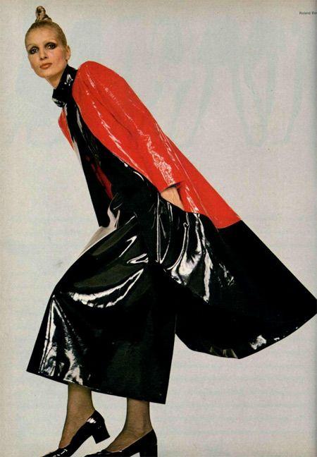 1970 Pierre Cardin red black vinyl maxi coat skirt ensemble
